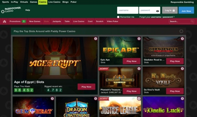 PaddyPower Casino Screenshot
