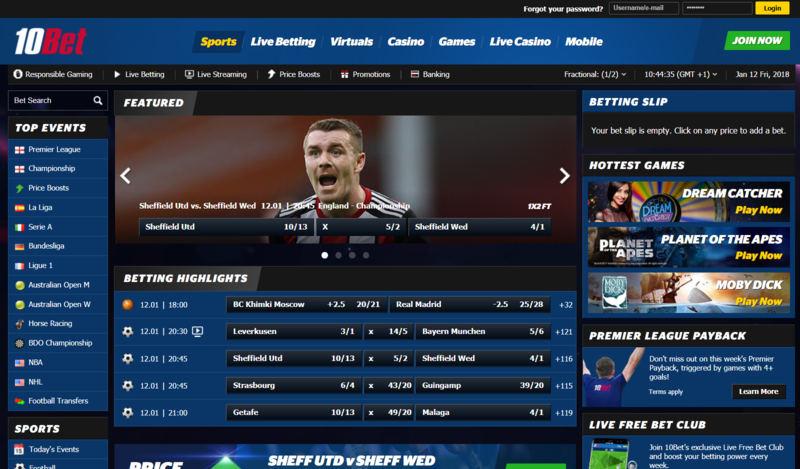 10bet Homepage
