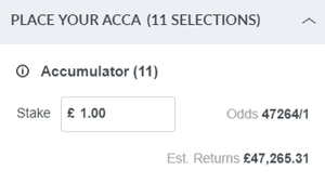 Accumuator Odds and Returns in Betting Slip