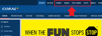 Multiple Casino Tabs on the Coral Website