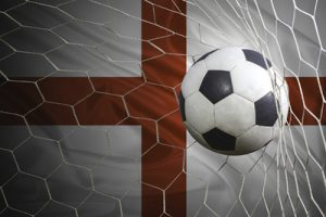 Ball in Net In Front of England Flag