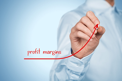 Profit Margins Being Drawn in Red Pen on Chart