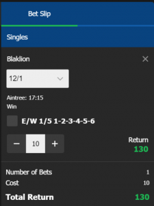 10Bet Betting Slip