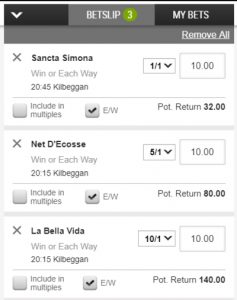 Betting Slip with Each Way Selections