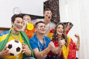 Happy Football Fans Cheering Their Countries