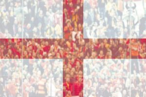 England Flag with Fans in Background