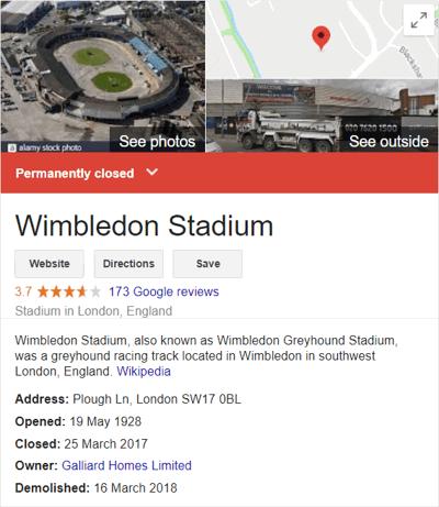 Wimbledon Dog Track Closed Notice
