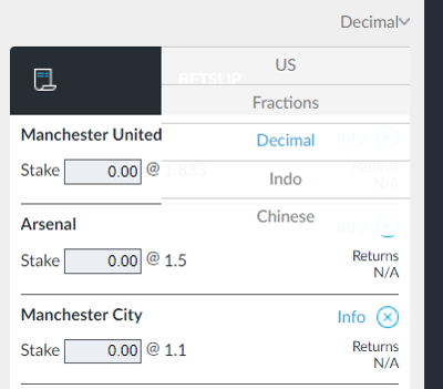 Betting Slip with Decimal Odds Selected