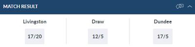 Livingston v Dundee Betting Odds