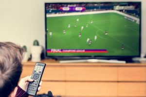 Football Being Watched on Television