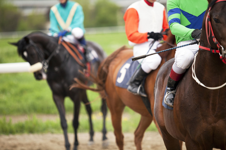 Jockeys Lining Up Before Race