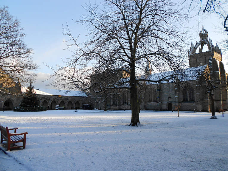 Snow Covered King's College in Aberdeen