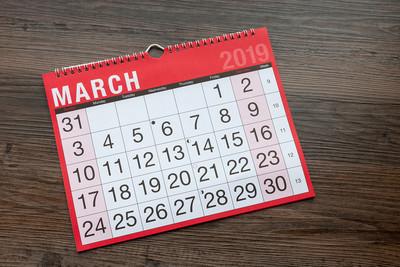 Calendar Showing March 2019