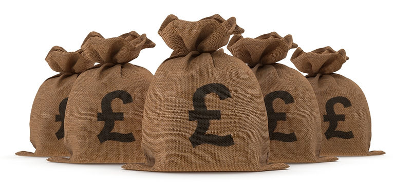 British Pound Money Bags