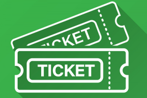 Tickets on Green Background