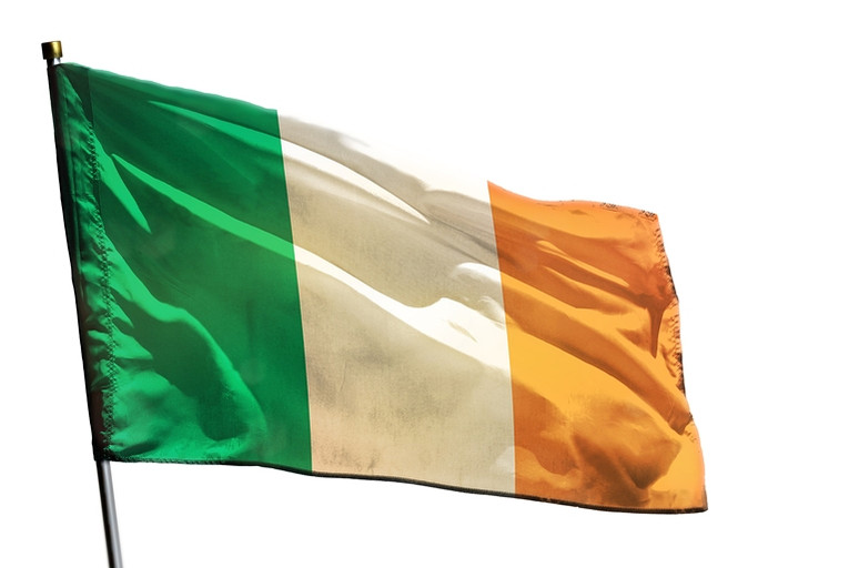 Ireland Flag Against White Background