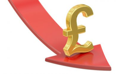Pound Sterling and Falling Red Arrow