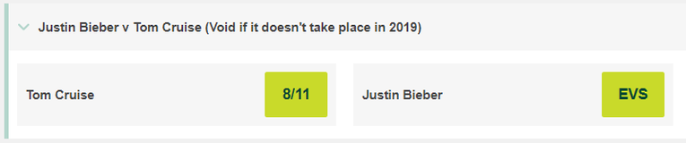 Tom Cruise v Justin Bieber Betting Odds