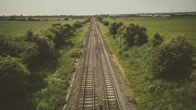 Railway Lines Through Countryside