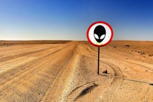 Alien Warning Sign in Desert