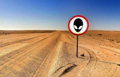 Alien Warning Sign in Desert