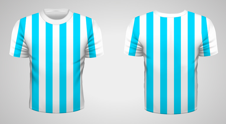 Blue and White Striped Football Shirt