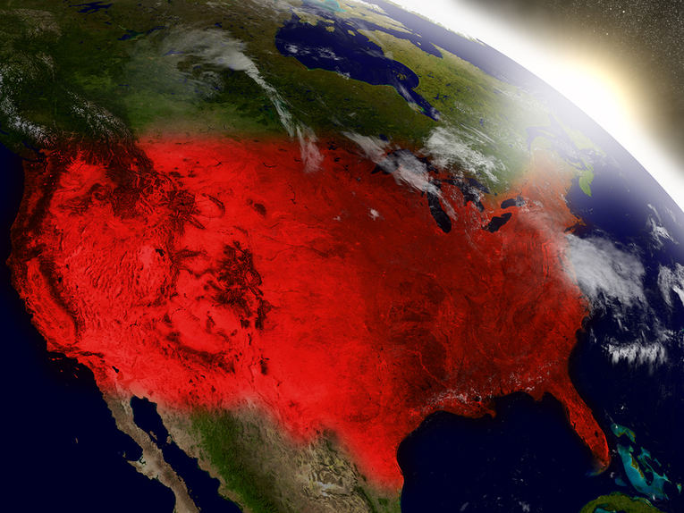 USA From Space in Red