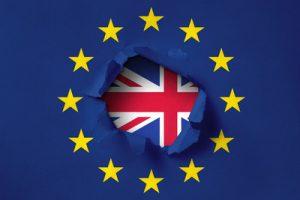 Torn EU Flag Revealing Union Jack