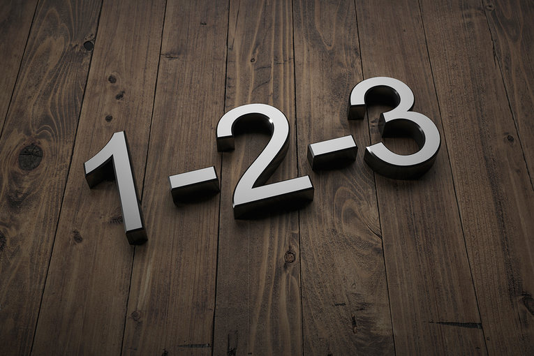 1-2-3 on Wooden Background
