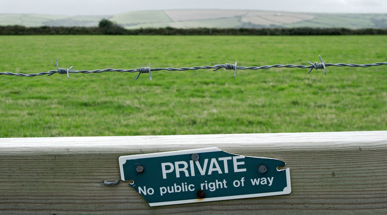 Private Sign on Fence