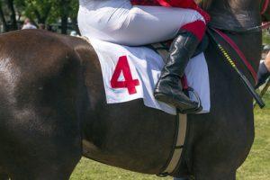Jockey in Saddle Showing Whip