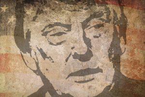Donald Trump Image on Faded USA Flag
