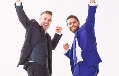 Men celebrating win