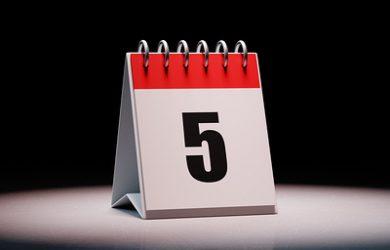 5 on a Calendar