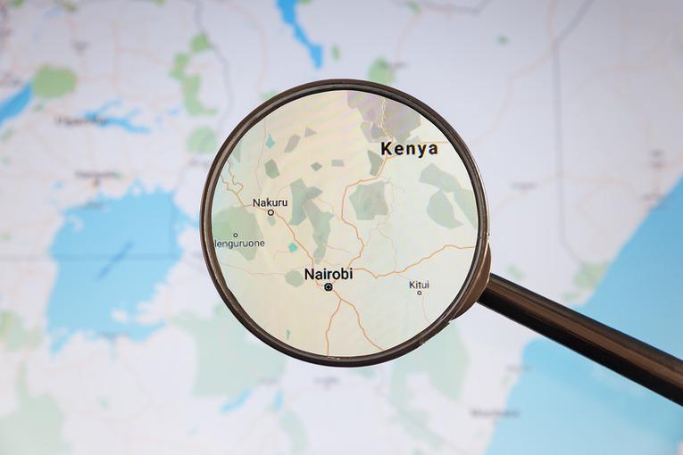 Kenya Map and Magnifying Glass