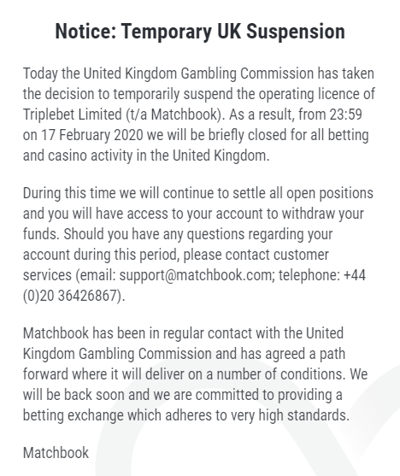 Matchbook Suspension Notice