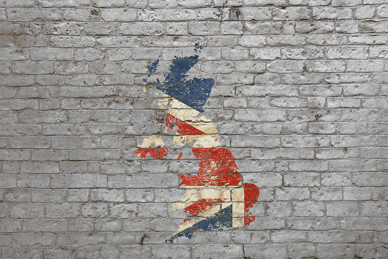 UK Map on Brick Wall