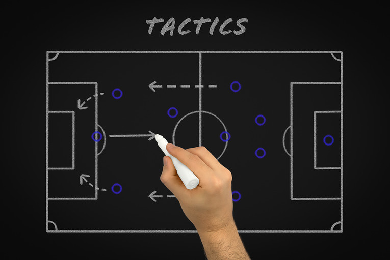 Football Tactics on Chalk Board