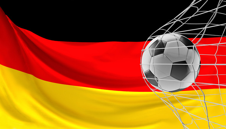 Germany Flag Behind Football in Net