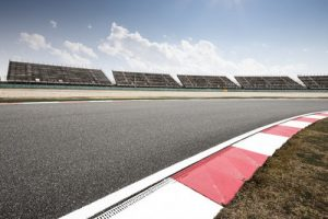 Motor Racing Circuit and Empty Stands