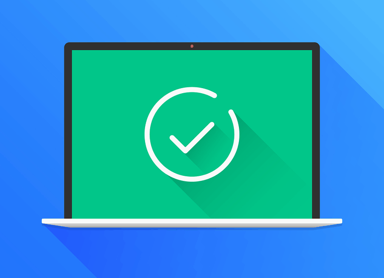 Tick on Laptop Screen