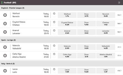 10Bet Football Betting Screenshot