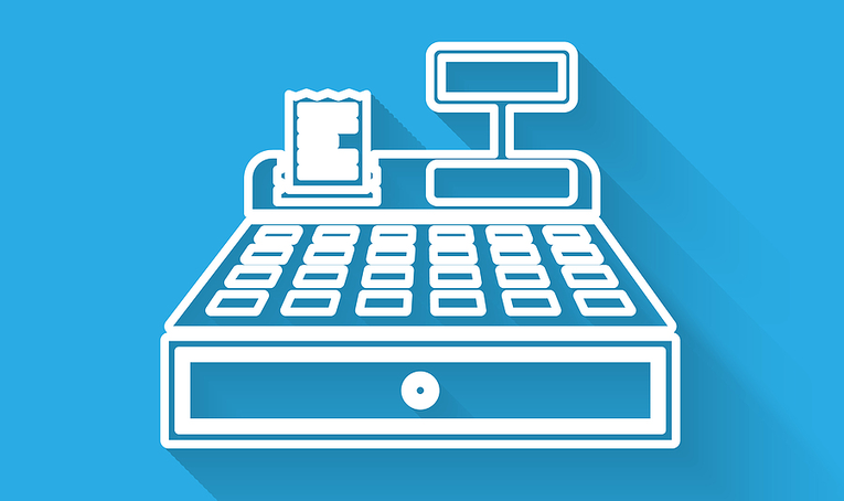 Cash Register Icon With a Blue Background