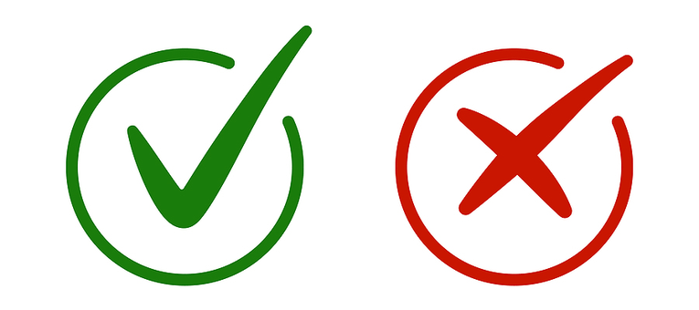 Green Tick and Red Cross