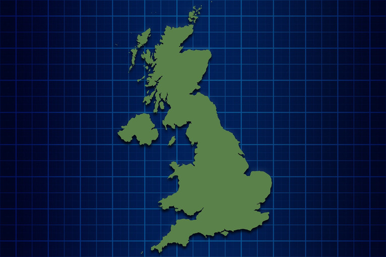 UK Map with Grid Background