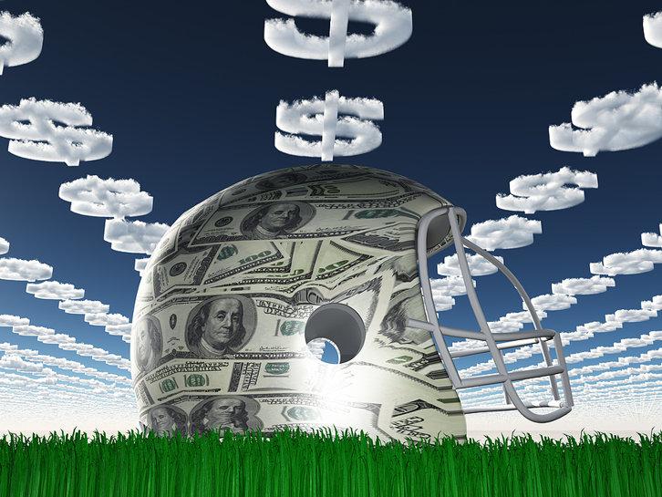 American Football Helmet Covered in Money