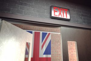 Exit Sign and UK Flag
