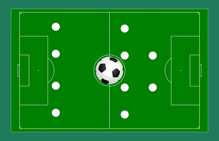 Football Pitch with 4-4-2 Strategy