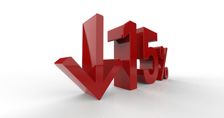 15 Percent Reduction 3D Numbers