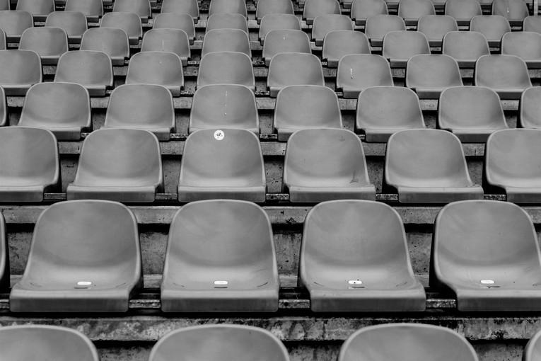 Empty Stadium Seats in Black and White